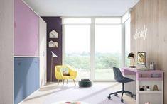 Camas Abatibles, la mejor opción para habitaciones juveniles pequeñas Camas Murphy, Bunk Beds, Office Desk, Corner Desk, Loft, Interior Design, Furniture, Home Decor, Diana