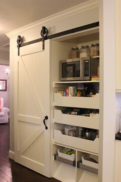hidden microwave and pantry