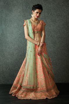 peach lehenga, gold embroidery, gold sequins work, glitter work, mint green net dupatta