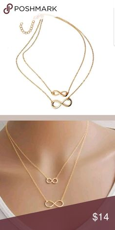 Double layered infinity necklace Brand new double layer infinity necklace. Gold color. Jewelry Necklaces