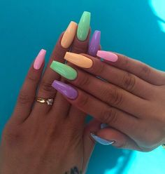 you should stay updated with latest nail art designs, nail colors, acrylic nails, coffin nails, almo Summer Acrylic Nails, Cute Acrylic Nails, Spring Nails, Cute Nails, Coffin Acrylic Nails Long, Neon Nail Art, Different Nail Designs, New Nail Designs, Acrylic Nail Designs