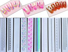 3D Nail Art Long Stickers - Flowers / Lace / Spider / Stars / Ball Chain Ornaments Black, White, Gold, Blue, Green, Pink and Neon. Set of 10 /LLIII/ -- Read more reviews of the product by visiting the link on the image.