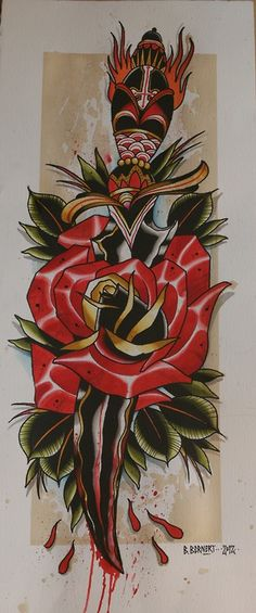 by Billy Bernert working at FaRbulös Tätowierungen in Nuremberg Lotus Blossom Tattoos, Rose Tattoos, Body Art Tattoos, Small Tattoos, Tattoos For Guys, Traditional Tattoo Colours, Heart Dagger Tattoo, Tatuagem Old Scholl, 3d Art Drawing