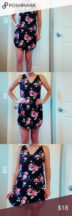 Black and pink floral dress This dress is black with pink flowers. It looks great with a pair of leggings. Old Navy Dresses Mini