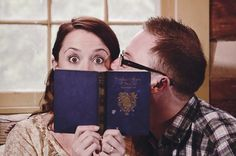 Book themed engagement shoot in a library