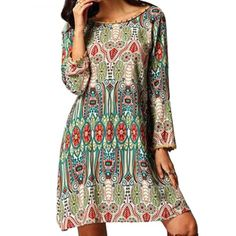 Ethnic Style Round Collar Tribal Print Tassel Dress -is this site a hoax? $8 for a dress?!