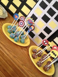 Super hero birthday , cake pops