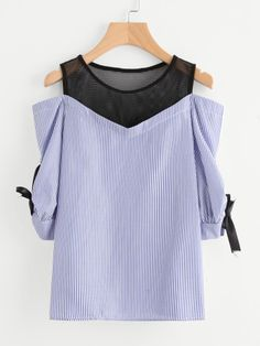 Open Shoulder Striped Fishnet Insert Blouse