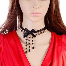 Collier femme moda Vintage hechos a mano corto Gothic Steampunk mujer cordón de la borla del Bowknot gargantilla collar mujeres del estilo del verano(China (Mainland))