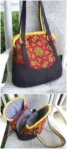 Sewing pattern for this really unique style of handbag. Love how the zipper pocket is hidden and secure between the other 2 part of the bag.: