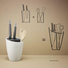 Pot à ustensiles et bloc couteaux en grès Organise Rig Tig