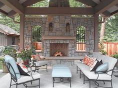 morningside pool pavillion 25 Fascinating Stacked Stone Fireplace Designs