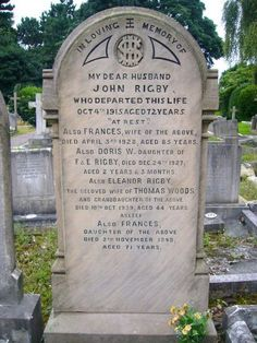Gravestone bearing the name of Eleanor Rigby, St Peter's church, Woolton