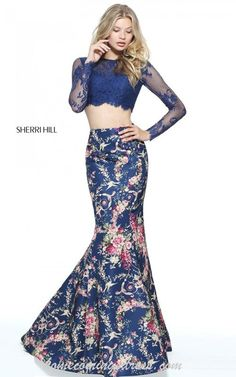 71b12611fdd2 2017 Two Piece Navy Sherri Hill 51064 Lace Long Sleeves Floral Printed Open  Back Long Taffeta Evening Dresses