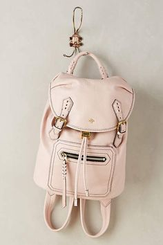 Amia Backpack| Anthropologie | Cute little pastel pink satchel backpack for a girly vintage feel.