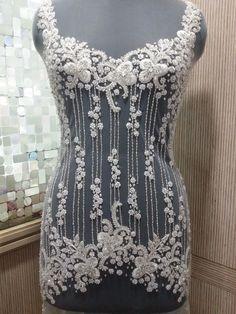À la main en perles et broderie corsage de robe de mariage, Top ou Corset dans plus de 50 modèles et couleurs - PIPER