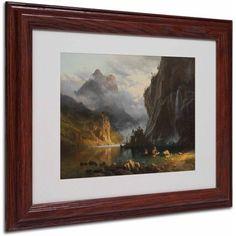 Trademark Fine Art Indians Spear Fishing Canvas Art by Albert Bierstadt, Wood Frame, Size: 16 x 20, Multicolor