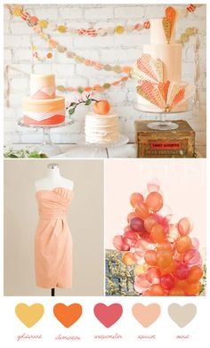 Peach, Coral, Orange & Tan party theme from The Sweetest Occasion.