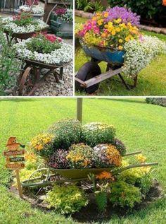 Roabe vechi transformate in jardiniere pentru flori de gradina