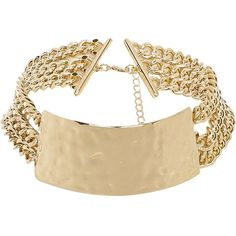 River Island Gold tone multi chain choker necklace (25 AUD) ❤ liked on Polyvore featuring jewelry, necklaces, accessories, adjustable necklace, metal choker, layered chain necklace, multiple strand necklace and metal jewelry