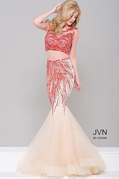 Red and Nude Two Piece Mermaid Dress JVN36772 #JVN #mermaiddress #promdress #formal