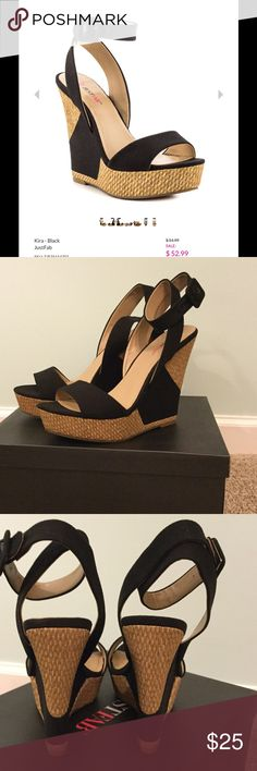 "Just Fab Sandals NIB!! Bought these and never wore them. Only tried them on. New In Box. They have a Pretty hint of shimmer. Canvas upper.  Approx. Heel Height: 5 1/2"" Approx. Platform Height: 1 1/2"" JustFab Shoes Platforms"