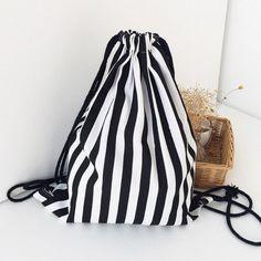 2016 New Fashion Striped Backpack Women Travel Drawstring Bag Lady Girls Travel Shopping Backpacks