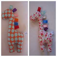 Sensory Giraffe by Bella Baker's Boutique    This playful sensory giraffe is made with 100% cotton and stuffed with toy stuffing. The ribbon tags are high quality satin ribbon which babies will enjoy playing with. All sensory giraffes are CE certified which means they are safe for young children.     All of my items are lovingly handmad...
