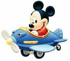 Mickey flying on the airplane