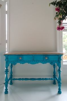 Sold..Turquoise Dream, hand painted vintage wood table,desk, vanity.Boho, shabby chic, french country, painted furniture nj by merakihomedesign on Etsy https://www.etsy.com/listing/279416698/soldturquoise-dream-hand-painted-vintage