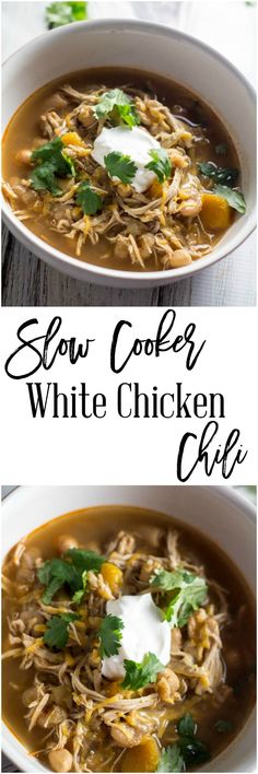 Slow Cooker White Chicken Chili - An easy and healthy chili recipe with unexpected ingredients.  The flavors are wonderful and combine for an explosion of flavors.  Butternut squash and chickpeas make this dish unique and delicious. http://dashofherbs.com/slow-cooker-white-chicken-chili/