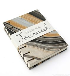Black and Gold Agate Journal handmade by Ruth Bleakley #bookbinding