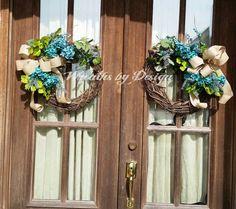 2 Grapevine Hydrangea Door Wreaths Wedding By