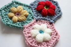 Daisy Puffagons Motif By Sandra Paul - Free Crochet Pattern - (ravelry)