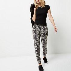 Pantalon de jogging imprimé léopard gris - pantalons de survêtement - Pantalons…