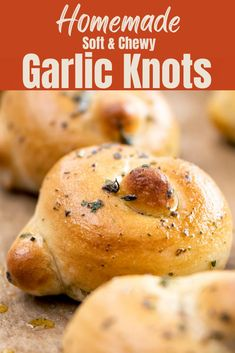 Homemade garlic knots are soft, chewy and perfect, pizzeria style treats right at home! These fluffy, soft delights are the perfect compliment to your favorite meals, sauces, soups, and salads. Easy to make when you want them or ahead of time, this recipe will allow you to skip ordering in but still let you satisfy your pizzeria cravings.
