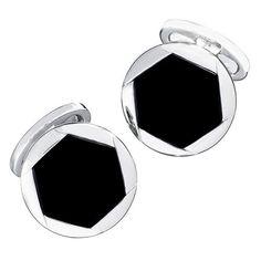 Box Sterling Silver Dia-Cut Square Cuff Links