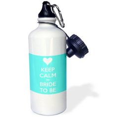 3dRose Keep calm Im bride to be. Aqua., Sports Water Bottle, 21oz