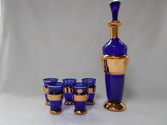 Vintage Bohemia Cobalt Blue and Gold Decanter by DebsDecoDelights