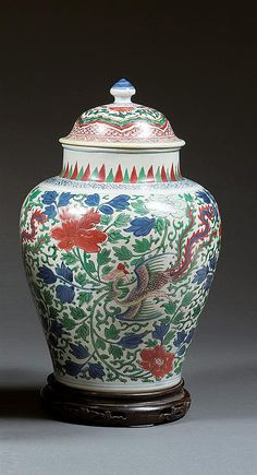 A wucai jar and cover, China, China, Transition periodH.14 3/4 in