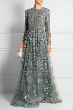 Valentino | Mirror-embellished tulle gown. Valentino's fairytale gown is crafted from gray-green tulle and heavily bedecked with hundreds of silver mirrors that catch the light. | NET-A-PORTER.COM