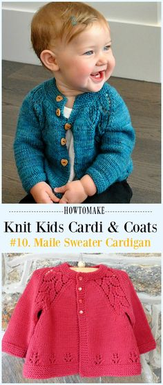 ideas for knitting diy sweater cardigan pattern Baby Sweater Patterns, Baby Cardigan Knitting Pattern, Knitted Baby Cardigan, Knit Baby Sweaters, Baby Patterns, Sweater Cardigan, Toddler Knitting Patterns Free, Knitting For Kids, Free Knitting