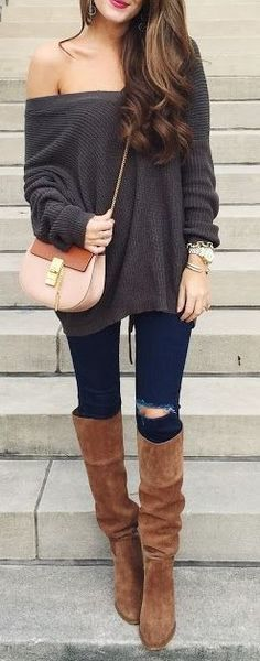 #fall #trending #outfits | Army Green Sweater + Denim