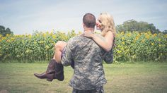 Engagement session in army fatigues and cowboy boots.    Military Couple's Engagement Shoot | Bride Link
