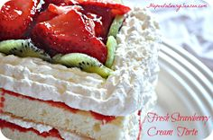 Recipe: Fresh Strawberry Cream Torte. Excellent choice for a summer treat. Can be made as a virtually fat free dessert, as well!