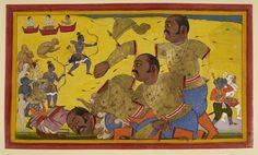 "https://flic.kr/p/jYWiXR | Ramayana, Yuddha Kanda. - caption: 'The death of Kumbhakarna' | ID: 014849  Title: Ramayana, Yuddha Kanda.  Illustrator: ""Sahib Din (Sahib Din)""  Provenance:    Udaipur, 1652  Caption: The death of Kumbhakarna  Notes: Kumbhakarna, his arm, legs and finally his head, severed by Rama's arrows, crashes to the ground. The severed head crushes part of the city of Lanka. The allies rejoice, except Bibishana who seems sad. Image taken from Ramayana, Yuddha Kanda..."