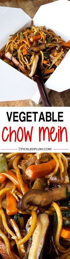 Vegetable Chow Mein - Better than takeout chow mein recipe that's earthy, savory and ready in just 20 minutes! Noodles, Main, Easy. | pickledplum.com