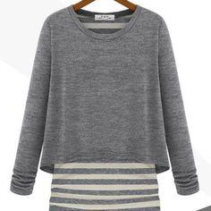 Korean Fashion Womens Autumn Striped Cotton Tops Casual Sheath Tee Blouse do #Unbranded #Sweater