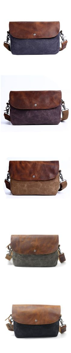 Waxed Canvas Men Messenger Bag Waterproof Canvas Shoulder Bag Crossbody Bag QGX2562