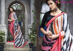 http://Sarees.SG  Add richer looks to the persona with this majestic Multiple Georgette Saree. The ethnic Crystals & Stones work at the clothing adds a sign of attractiveness statement with your look.